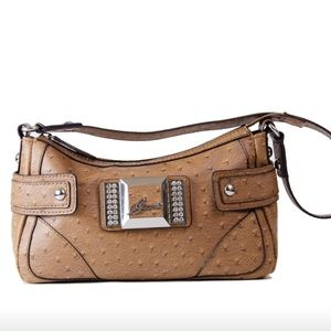 Guess brown ostrich embossed satchel handbag. 👜💞